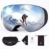 FREE SOLDIER Gafas Esqui para Hombres y Mujeres Gafas Snowboard Antivaho OTG con Lentes Extraíbles Gafas de Esqui sin Marco Magnéticas de Invierno con Protección 100% UV400(Plata-14% VLT)