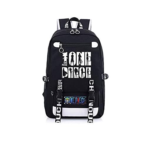 JXEXF One Piece School Back Zaino Anime Casual Daypack Bookbag per Scuola, Borsa da Campeggio Viaggio Daypack, Regali per Adolescenti (Color : Black, Size : 48 * 30 * 15cm)