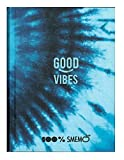 Smemo Good Vibes - Agenda escolar 100 % con texto en inglés «Smemo Good Vibes F.to Pocket Feched 2021/2022 azul + bolígrafo multicolor LED + llavero de abril