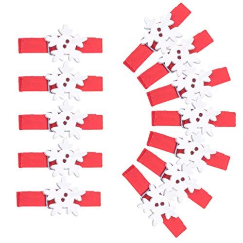 VORCOOL 48 Pcs Clips en Bois De Noël Pinces À Linge Flocon De Neige Bricolage Photo Piquets Note Memo Pince Tenture Murale Décoration pour La Maison École Art Artisanat Décor (Rouge)