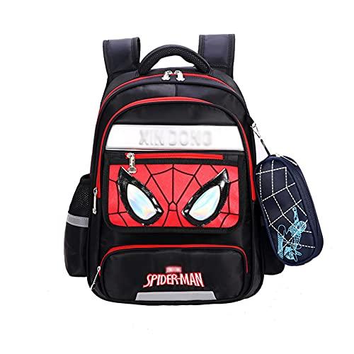 Xyh723 Zaino per Bambini Spider-Man Satchel Ragazzi Viaggi Borsa da Scuola per Le Vacanze Adolescenti Impermeabile per Esterni Supereroe Cartone Animato da Pranzo,Black-L