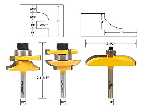 Yonico 12339q Round Over 3 Bit Raised Panel Cabinet Door Router Bit Set 1/4-Inch Shank