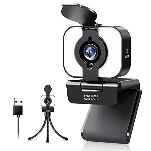 Webcam 1080P Full HD con Microfono, Webcam per PC con Luce ad Anello e Treppiede, Webcam Streaming per PC, Laptop, Videocamera USB per Chat Video,Registrazione,Zoom,Skype,Desktop,Windows,Mac,Android