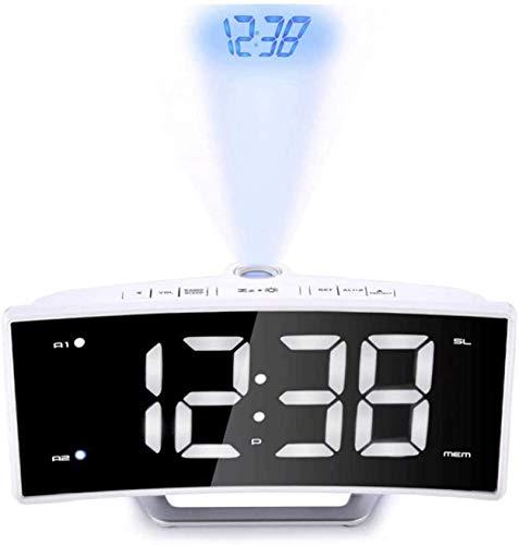 J & J Proyección Dual Reloj de Alarma, Reloj de proyección Digital con estación meteorológica, Termómetro Interior/Exterior, Cargador USB, Pantalla LED con Dimmer