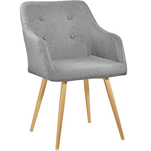 TecTake 402981 - Chaise de Salle à Manger Confort, Fauteuil de Salon Rembourré au Design Scandinave 55 cm x 54 cm x 82,5 cm Gris