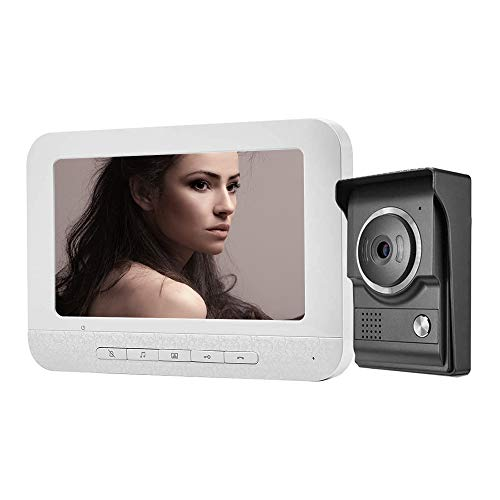 Video Intercom,Video Doorbell Wired,7 Inches Wired Video Door Phone Intercom System Kit 1-Camera 1-Monitor Support Night Vision,Unlock and Intercom for Home Office Apartment