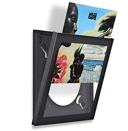Pinnacle Frames and Accents Show & Listen Album Cover Display Frame, Flip Frame Displays Vinyl Records, 12.5x12.5, Black