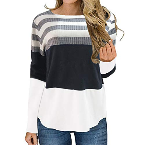 PKTOP - Jersey de manga larga con cuello redondo a rayas para mujer Blanco blanco L