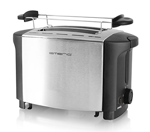 Emerio TO-108275.1 Toaster, 18/8, Edelstahl, Schwarz