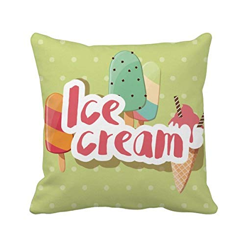 DIYthinker Vert Popsicle Douce crème glacée Motif carré Coussin Oreiller de Insert Cover Accueil Canapé Décor Cadeau 40 X 40Cm Multicolore