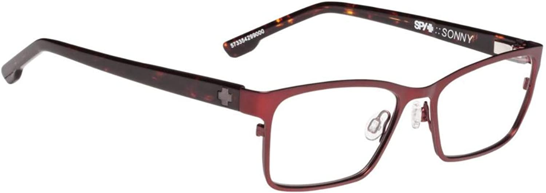 Spy Optic Sonny 573354299000 Eyeglasses, Frame Matte Garnet dark Tort 52mm w Clear Demo Lens