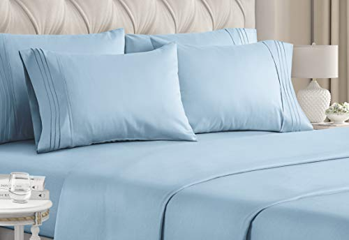 Queen Size Sheet Set - 6 Piece Set - Hotel Luxury Bed Sheets - Extra Soft - Deep Pockets - Easy Fit - Breathable & Cooling Sheets - Comfy - Light Blue Bed Sheets - Baby Blue - Queens Sheets - 6 PC