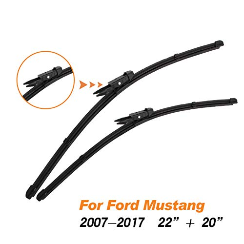 WOLDce Right Hand Drive Auto Car Windscreen Wiper Blades Fit Hook/Pinch Tab Arms Natural Rubber,for Ford Mustang Model Year from 2000 to 2017