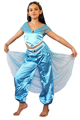 Costume Jasmine bambina - Principessa - Araba - Travestimento - Odalisca -Carnevale - Hallowen - Cosplay - Bimba - Colore Azzurro - Taglia 150-10-11 anni