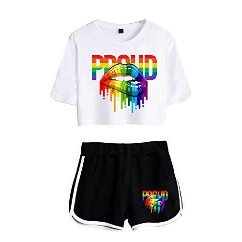 JLTPH Damen LGBT Pride Regenbogen Kussmund Gedruckt Crop Top T-Shirts und Shorts 2 Stück Anzug Regenbogen Bisexuell Pride Color Style Shirt Gay Pride Freizeitanzug Sportanzug Outfits Sommer