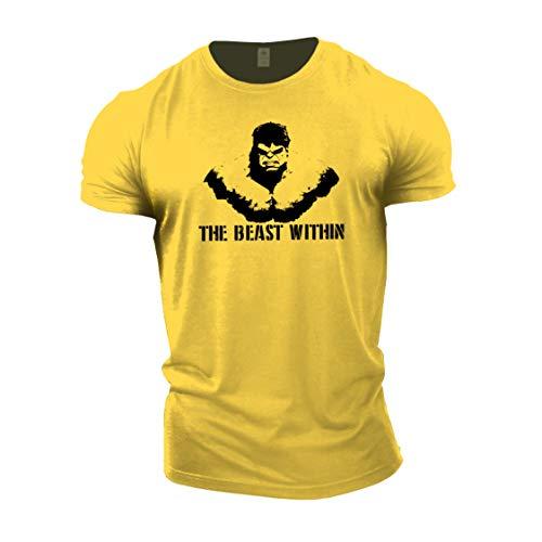 """Gymtier Bodybuilding-T-Shirt für Herren – """"Beast Within"""" – Trainings-Top Gr. XXXX-Large, gelb"""