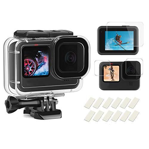 SHOOT Carcasa 60m Impermeable para GoPro Hero 9 Black,196ft Buceo Funda Protectora con Película de Pantalla Templada e Inserto Antiniebla para GoPro Hero 9 Black