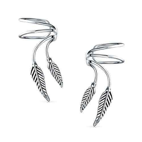 Blatt Feder Knorpel Ohr Manschetten Schlingen Kabel Ohrstulpe Ohrringe Damen Herren Nicht Durchbohrt Ohr Sterling Silber