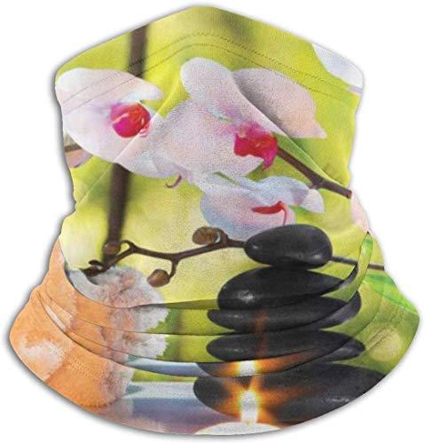 Massaggio Spa Candele Orchidee Pietre Unisex Copricapo da esterno Scaldacollo in pile Scaldacollo comodo Scaldacollo Maschera facciale Sciarpa invernale per il freddo Inverno sport all'aria apert