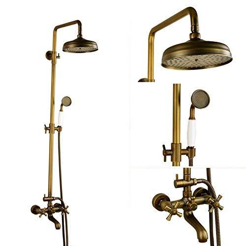 WY-YAN Fregadero cuarto de baño grifos de ducha de lluvia antiguo Conjunto/Cobre completa de baño caliente y fría de la ducha grifo de la ducha del lavabo caliente fría grifos de mezclador del lavab