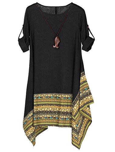 Vogstyle Damen Sommer Kleid Langarm Unregelmäßige Saum Ethnisch Mischfarben Baumwolle Leinen Lang Bluse Shirt Black M