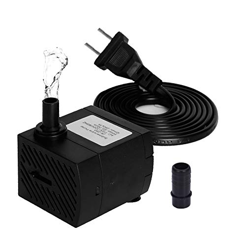 Submersible Water Pump 4W 280L/H Fountain Water Pump for Pond/Aquarium/Fish Tank/Statuary/Hydroponics with 5ft (150CM) Power Cord