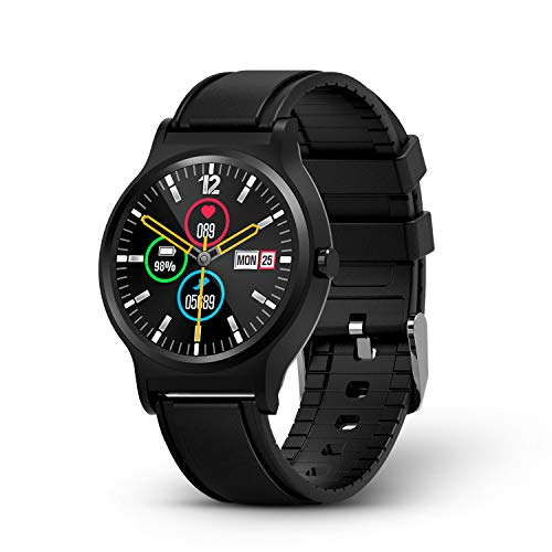 GOKOO Full-Touch Smart Watch Activity Fitness Tracker with Heart Rate Blood Pressure Sleep Monitor Remote Camera Music Control Reminder Calorie Stopwatch Color Screen Smartwatch Black