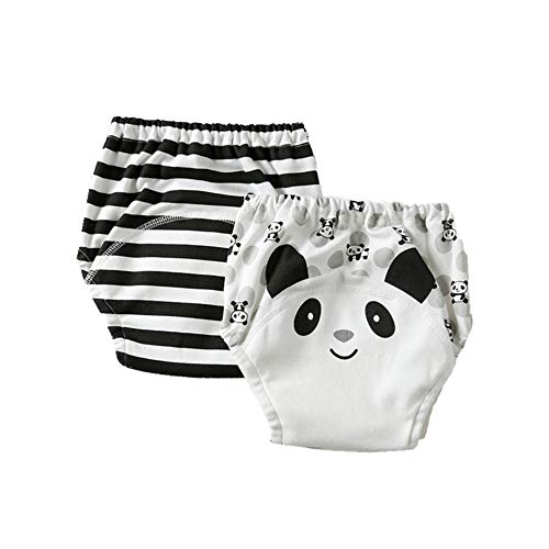 Pantalones de Entrenamiento para Bebé, Morbuy Reusable Calzones de Entrenamiento Ropa Interior de Entrenamiento Bragas de Aprendizaje para Niño Niña, 1-6 Edad, 2 Piezas (80cm,Panda Blanco)
