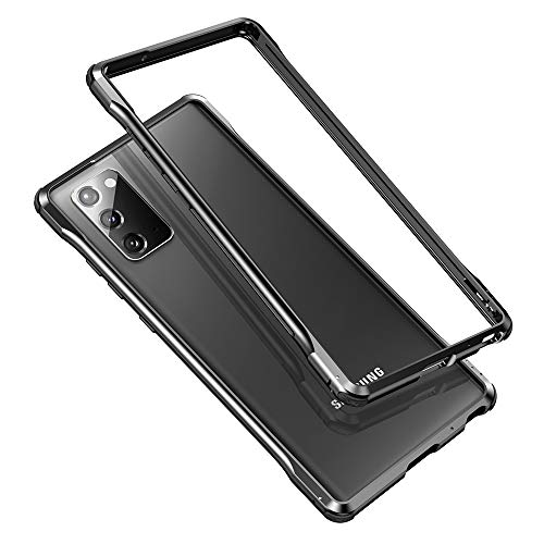 Woluki Luxury Aluminum Bumper Case Compatible Samsung Galaxy Note 20 Ultra,Slim Metal Frame Edge Cover 4 Corner Rubbers Military Grade Shockproof Drop Protection (Black, Galaxy Note 20 Ultra)