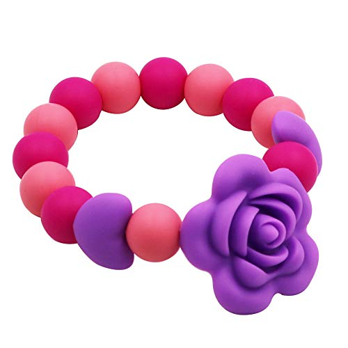 Sensory Chew Bracelet for Kids, Silicone chewable Beads Bracelet for Girls and Boys, Chewing Ring Purple Rose Teething Toys for Toddlers and Infant Reduces Biting Fidgeting Anxiety