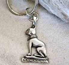 Pewter Cat Egyptian Goddess Bast Keychain Key Tag