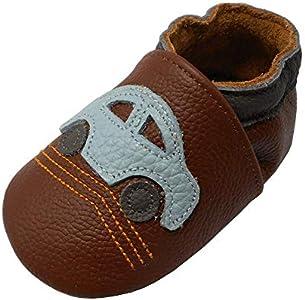 Yalion Zapatos de Bebé Zapatos de Cuero Suave para bebés Pantuflas Infantiles Patucos 0-3 Años Automóvil (Marrón, L, 21/22 EU)