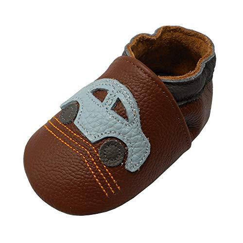 Yalion Zapatos de Bebé Zapatos de Cuero Suave para bebés Pantuflas Infantiles Patucos 0-3 Años Automóvil (Marrón, L, 21/22 EU) ✅