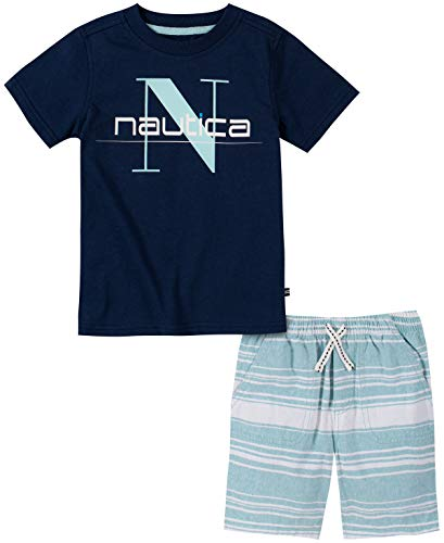 Nautica Sets (KHQ) Baby Boys' Shorts Set, Navy/Plaid, 18M Boys Navy Short Set