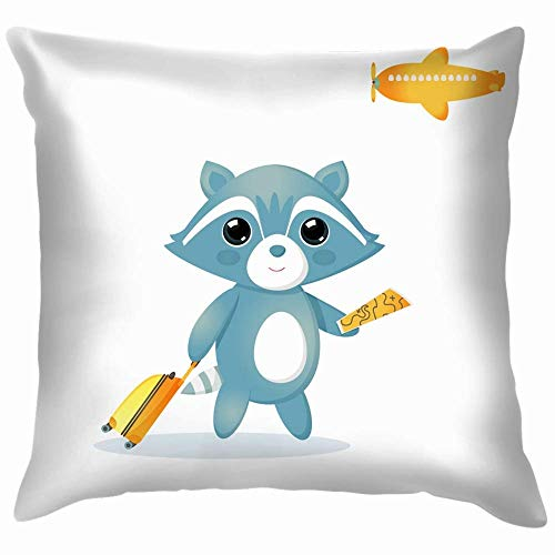 okstore1988 Raccoon Carrying Suitcase Vector Animals Wildlife Airplane Pillow Case Throw Pillow Cover Square Cushion Cover 45X45 Cm Decor for Couch Sofa Bedroom Car
