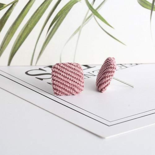 SSEHXL Pendientes Moda de Invierno Tela de Tela botón Pendientes Simples Lindos Cuadrados de algodón botón Pendientes Stud para Mujer niña Regalo de joyería de Moda
