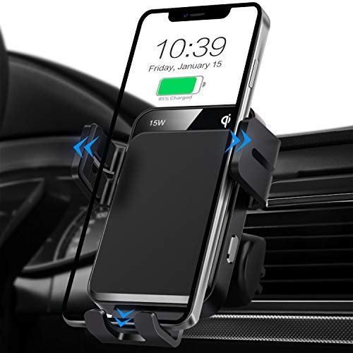 Cargador de coche inalámbrico, 15 W/10 w/7.5 W qi carga rápida auto sujeción de aire ventilación coche cargador teléfono soporte