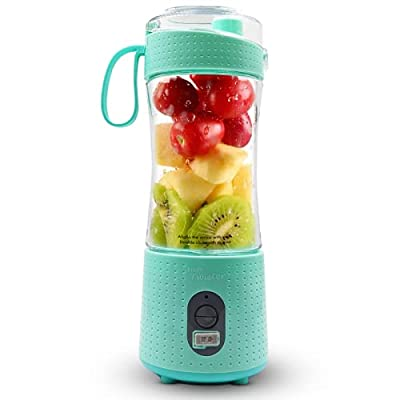 Fruit Twister Portable Blender for Shakes and Smoothies, Personal handheld Mini Travel Size 13 Oz (380ml), Battery Operated and USB Rechargeable Home Office Gym Beach Mint Green by