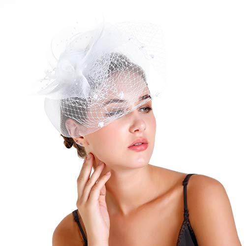 COMVIP Bibi Voilette Femme Filet Fleur Élégant Chapeau Coiffure Bal Mariage Blanc