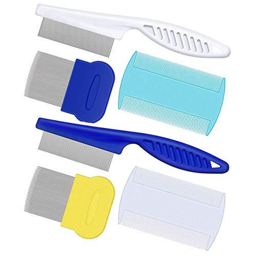 AOSEA pettine a denti fini per rimuovere peli, pidocchi, lendine e zecche da cani e gatti, strumento per la toelettatura, 6 pezzi
