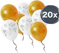 20x Luftballons gold weiß Ballon für Luft und Helium zur Dekoration Deko Motive Kreuz, Taube, Fische bei christliche Feste wie Kommunion, Firmung, Hochzeit, Konfirmation, Taufe uvm. 20x Luftballons Ballon für Luft und Helium in weiß gold - 30 cm Größ...