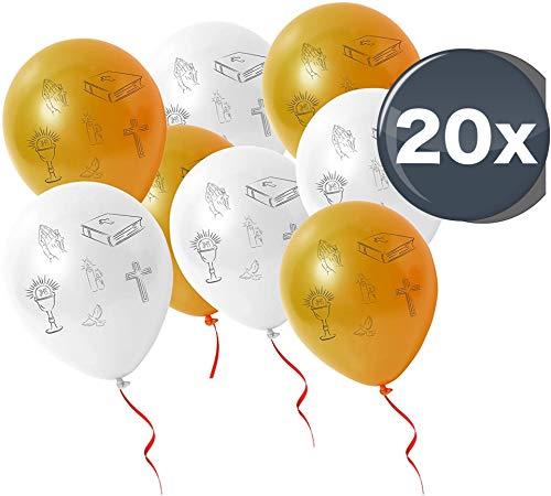 20x Luftballons gold weiß Ballon für Luft und Helium zur Dekoration Deko Motive Kreuz, Taube, Fische bei christliche Feste wie Kommunion, Firmung, Hochzeit, Konfirmation, Taufe uvm.
