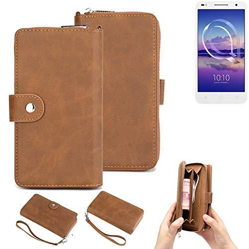 K-S-Trade® Handy-Schutz-Hülle Für -Alcatel U5 HD Dual SIM- Portemonnee Tasche Wallet-Case Bookstyle-Etui Braun (1x)