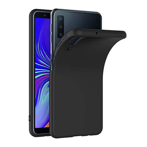 COPHONE® Cover per Samsung Galaxy A7 2018 Cover Galaxy A7 2018 Nero Silicone Case Molle di TPU Sottile Custodia per Samsung Galaxy A7 2018
