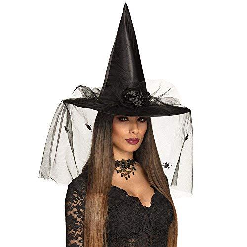 Boland- Cappello Strega Esmeralda con Velo per Adulti, Nero, Taglia Unica, 96985