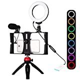 PULUZ 4 in 1 Smartphone Video Rig Kit, with 4.7 inch RGBW Ring LED Selfie Light, Microphone, and Pocket Tripod Mount Kits with Cold Shoe Tripod Head, Perfect for TIK Tok or Vlogging Equipment (Red)
