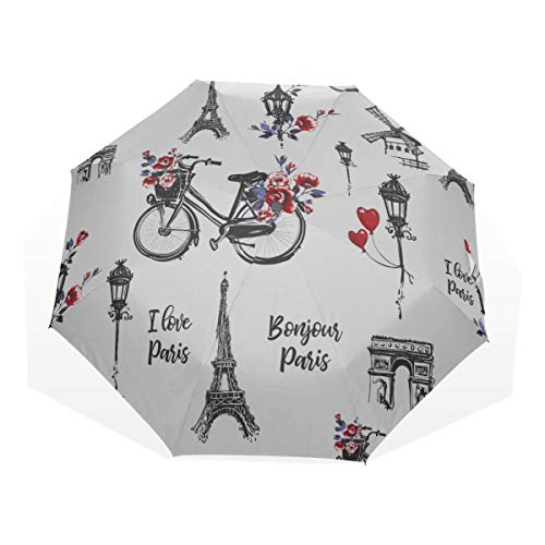 Compact Umbrella Lightweight Romantic Spring Flower Bicycle Basket 3 Fold Art Umbrellas(outside Printing) Rain Umbrella Travel Folding Outdoor Umbrella Best Sun Protection Umbrella