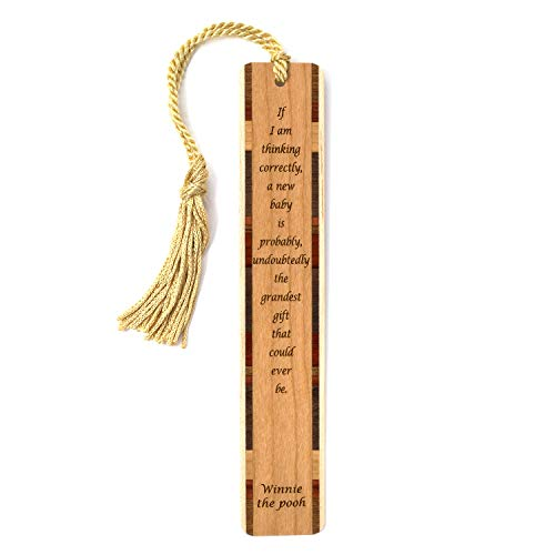 Winnie The Pooh Quote New Baby is The Grandest Engraved Wooden Bookmark with Tassel - Search B07QG4C13K to See Personalized Version
