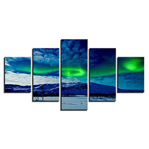 suhang Fotolijst, woonkamerdecoratie, 5 panelen, mooie Aurora Borealis, landschap, poster, moderne muurkunst, gedrukt schilderij 10x15 10x20 10x25cm Frame