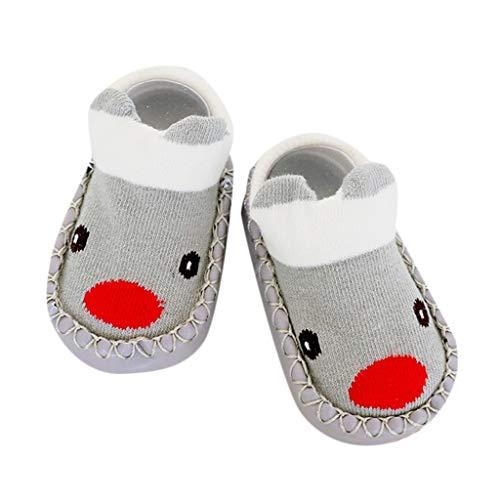 AKAIDE Socken für Babys, Kinder, Baumwollmischung, flauschige Schuhe, bequem, super weich, Cartoon-Neugeborene, Mädchen, Jungen, rutschfeste Stiefel Strümpfe Gr. L, grau